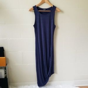 Express Striped Drapped Asymmetrical Dress